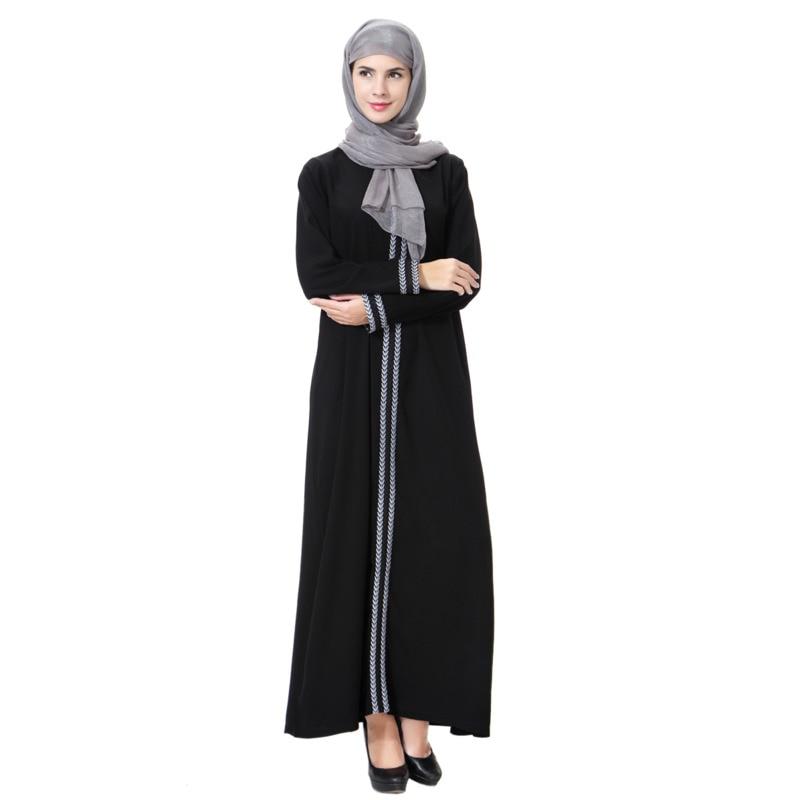 عباية إسلامية دبي عبايات قفطان عربية للنساء ، كم طويل ياقة مستديرة فستان نمط إسلامي للسيدات رداء مع تطريز إسلامي