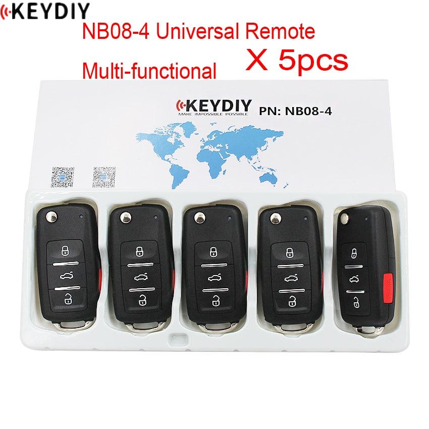 5 unids/lote, 4 botones KD900 NB08-3 + 1 Control Remoto multifuncional Universal para KD MINI/URG200/KD-X2 generador de llaves