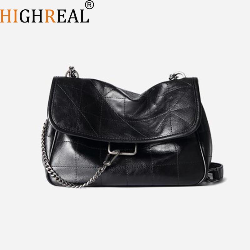 HIGHREAL New Rhombus Black Rock Soft Single Shoulder Oblique Span Chain Bag Luxury Handbags for Woman PU Leather Messenger Bag