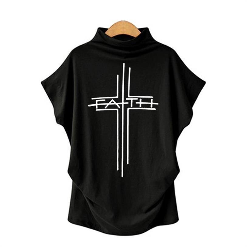 2020 New  Fashion T-Shirt For Women Faith Letters Print Female Harajuku Plus Size Tops