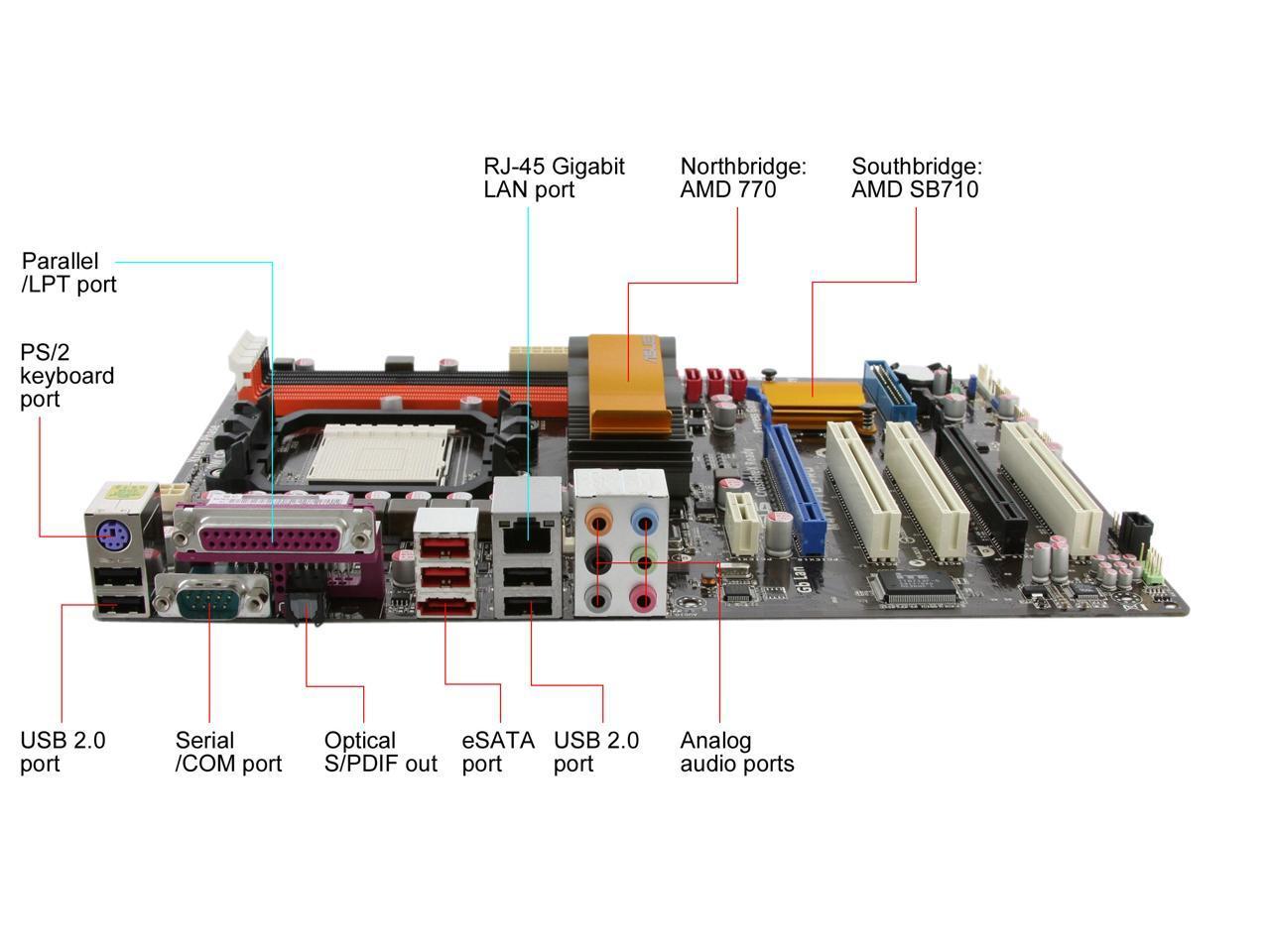 Asus M4A77TD PRO Desktop Motherboard  Socket AM3 AMD 770  DDR3 16GB Phenom II/Athlon II/Sempron CPUS  USB2.0 ATX Motherboard
