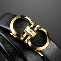 famous brand belt 3 5cm width new male designer metal automatic buckle cowhide leather men belt luxury belts for men strap