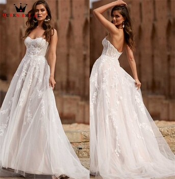 Elegant A-line Wedding Dresses Sweetheart Tulle Lace Formal Marriage Bridal Gown 2022 New Design Custom Made DS83