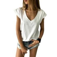 Été t-shirt femmes à manches courtes col en V décontracté Sexy femmes t-shirt Camisetas Feminina dame Simple hauts