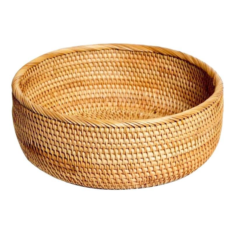 Hadewoven redondo rattan cesta de frutas vime comida bandeja de tecelagem armazenamento titular sala jantar tigela