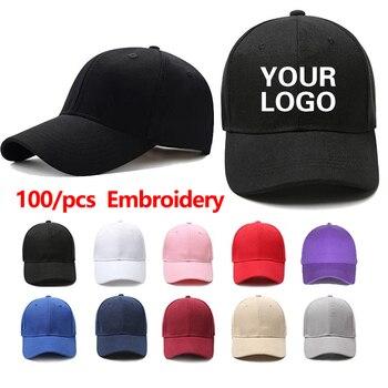 100/Pcs High Quality Wholesale Unisex Adjustable Dad Hat Shade Hip Hop Men Women Baseball Cap With Custom Embroidery Gorras Logo