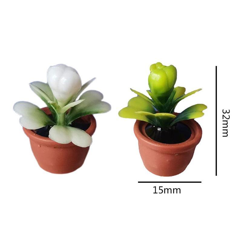 Cute green mini tree potted plants For 1:12 dollhouse miniature cactus plants plant succulents miniature house potted mini W0Q8