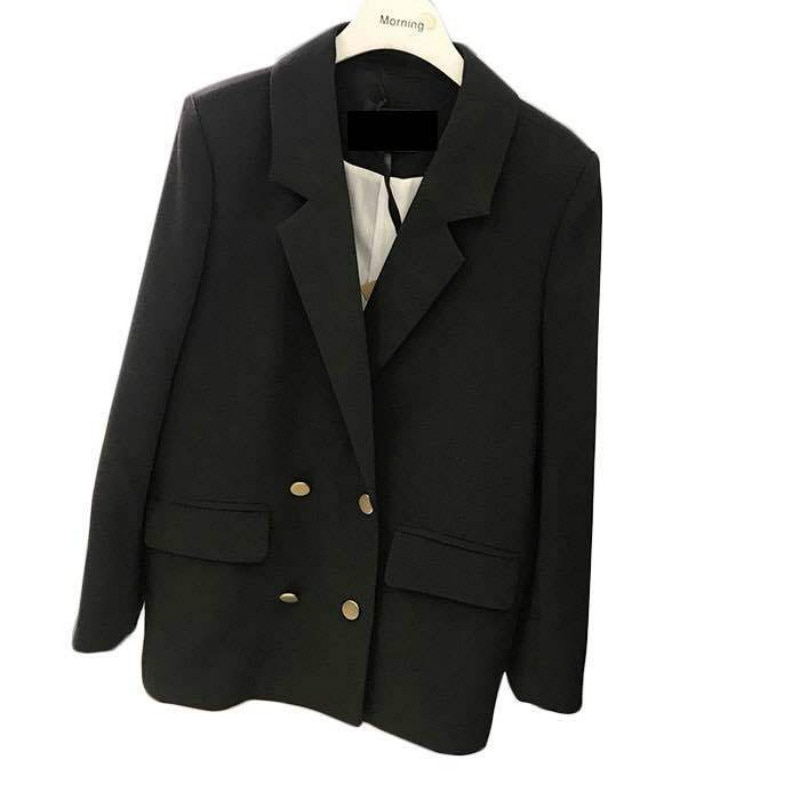 Blazer feminino spring and autumn new women's metal double-breasted OL temperament commuter casual fashion suit jacket female fashion black trailblazer blazer new double breasted temperament commuter suit jacket women short casual long sleeve tops women