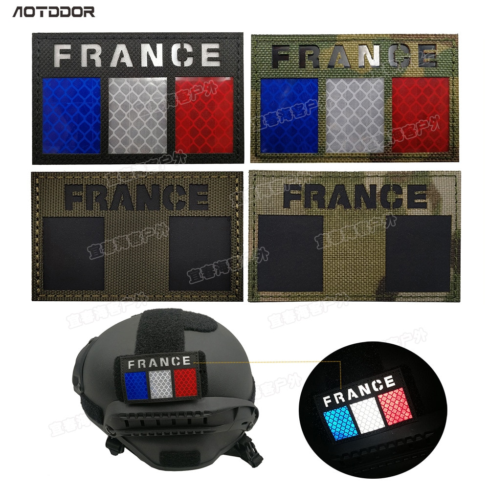Parche infrarrojo reflectante de la bandera de Francia, parche de la bandera de Francia, Parche de moral militar multicámara francesa, insignia adhesiva táctica