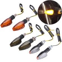 2PCS Universal 12V กระพริบเลี้ยวรถจักรยานยนต์ไฟ LED ด้านหลังไฟกระพริบไฟท้ายสำหรับ Cafe Racer Honda BMW Yamaha