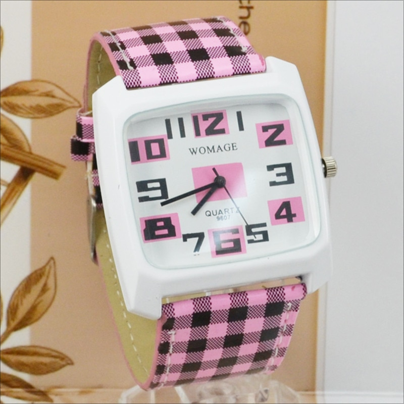 Womage Womens Watches Fashion Women Square Watches Leather Band Quartz Wratch Casual Ladies Watches