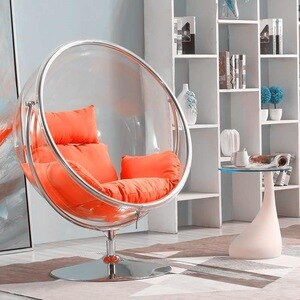 Stock Supply Floor Style Bubble Chair Space Transparent Acrylic Hemisphere  Indoor Hanging Basket Outdoor Swing Park Chair