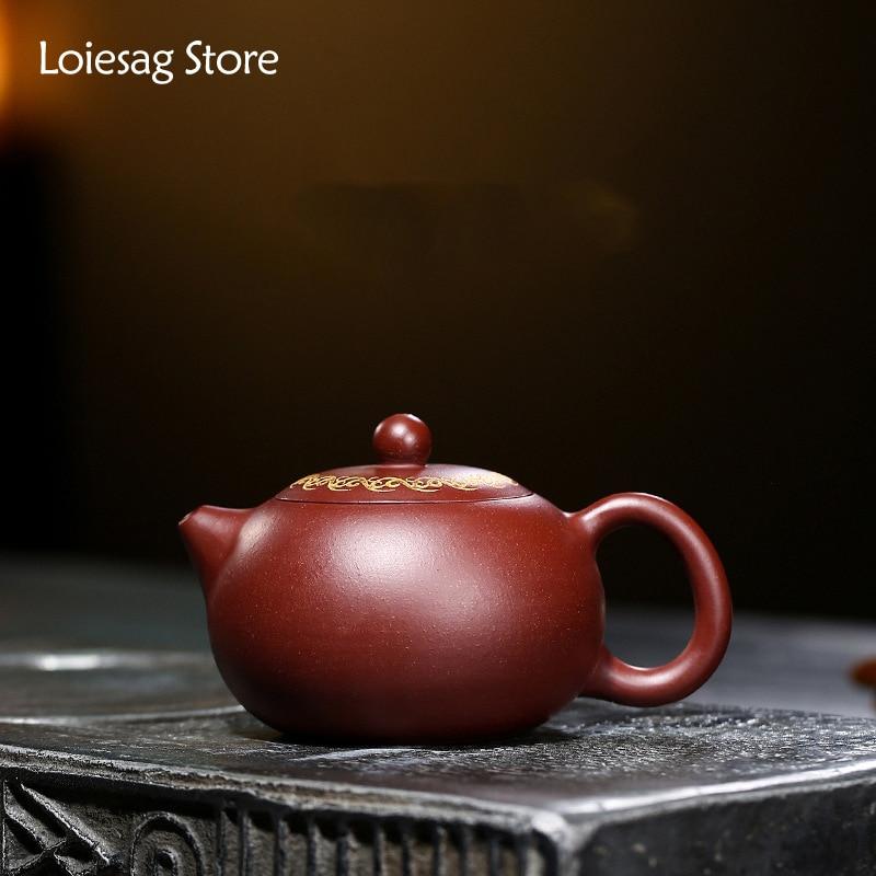 Loiesag 200 مللي Yixing الأرجواني الطين إبريق الشاي الخام خام تشو الطين قدرة عالية Xishi Zisha براد شاي اليدوية الصحية وعاء طقم شاي الكونغ فو