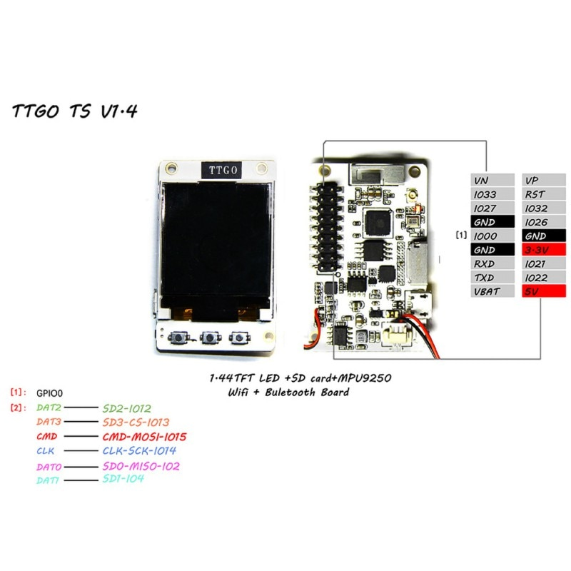 TTGO TS V1.0 V1.4 ESP32 1,44 1,8 TFT ranura para la tarjeta MicroSD altavoces MPU9250 Bluetooth módulo Wifi