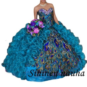 Peacock Embroidery Quinceanera Dresses Sweet 16 Dress Vestidos De 15 Anos Sweetheart Pleated Ball Gown Long Prom Party Dress 487