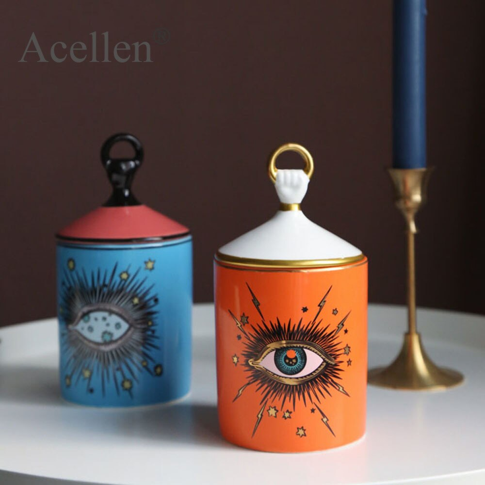 Handgemaakte Candleabra Big Eye Sterrenhemel Wierook Kaars Houder Met Hand Deksel Aromatherapie Kaars Jar Tafelblad Home Decoratie
