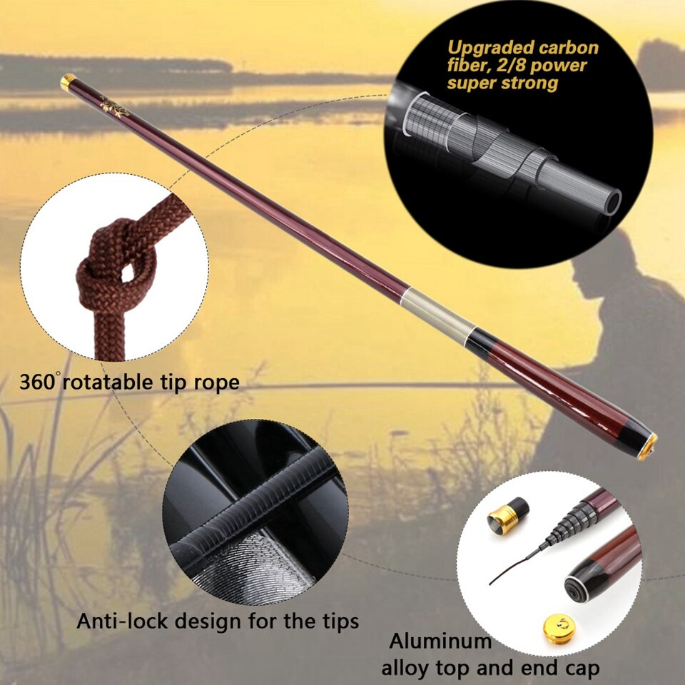 NEW 3.6-7.2M Carbon Telescopic Carp Fishing Rod Fish Hand Fishing Rod Ultra Lightweight Carbon FiberPole Stream Pole Set