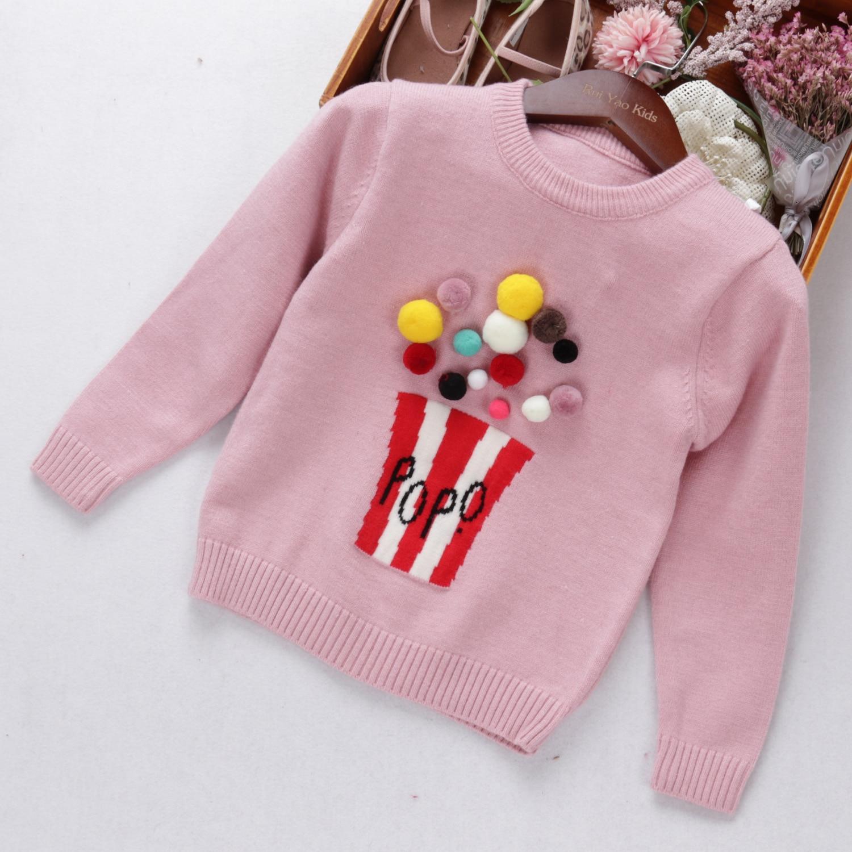 Осенний свитер для маленьких девочек модный с попкорном детская вязаная модная