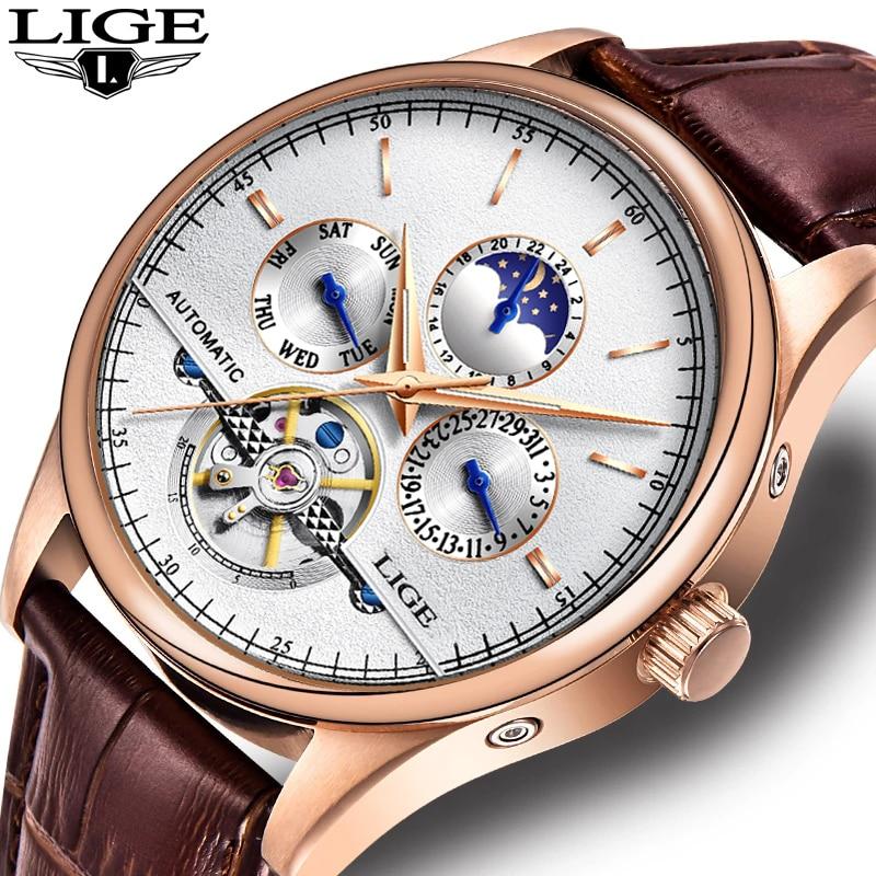 LIGE الفاخرة توربيون ساعة ميكانيكية الرجال التلقائي الكلاسيكية ارتفع الذهب والجلود الميكانيكية ساعة الموضة ساعة ذهبية Reloj