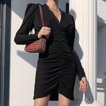 NORMOV-robe plissée à col en v profond, Mini robe Patchwork élégante, Sexy, soirée boîte de nuit, tenue à la hanche