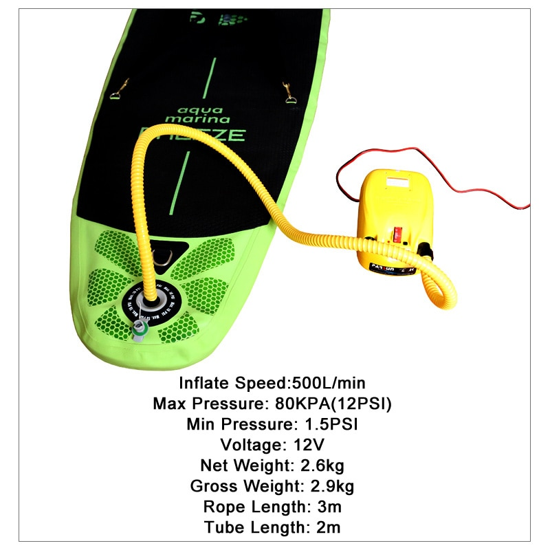 Free shipping high pressure DC 12V electric air pump for inflatable boat dinghy raft sup surf board stand up paddle kayak canoe enlarge