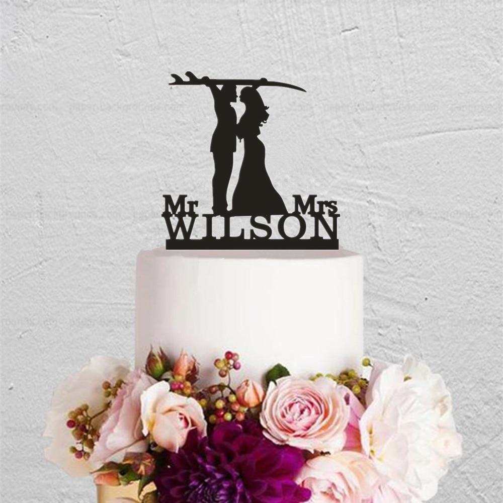 Personalizado novio surf boda deporte tema pastel Topper acrílico personalizado nombre aniversario boda fiesta accesorio suministro