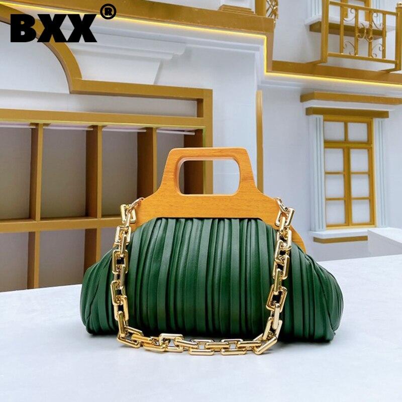[BXX] المرأة الجديدة الاكريليك سلسلة الخشب كليب حقيبة يد مطوي بولي Leather الجلود كل مباراة Crossbody حقيبة كتف الموضة تتجه 2021 GF0188