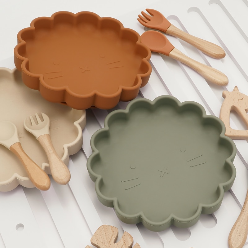 Детская посуда, овальные кружевные тарелки, водонепроницаемая миска и тарелка, ложка, вилка, Набор детских принадлежностей, без БФА