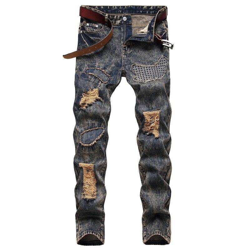Новинка 2021, светлые мужские джинсы, подходящие по цвету, Модные индивидуальные джинсы с начесом и дырками, модные мужские джинсы