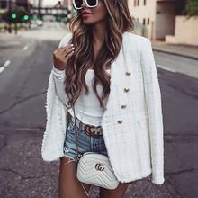 Manteau tweed blanc femmes blazers chaqueta mujer élégant veste femme sexy ropa mujer basique vestes manteau printemps vestio 2020 zora za