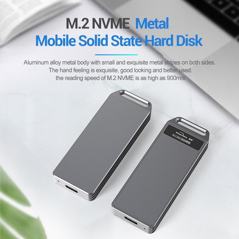 Caja de M2 SSD, M2 a USB tipo C 3,1, adaptador de alta velocidad 10Gbps 1TB SSD, caja de discos para NVME PCIE SATA M/B Key SSD