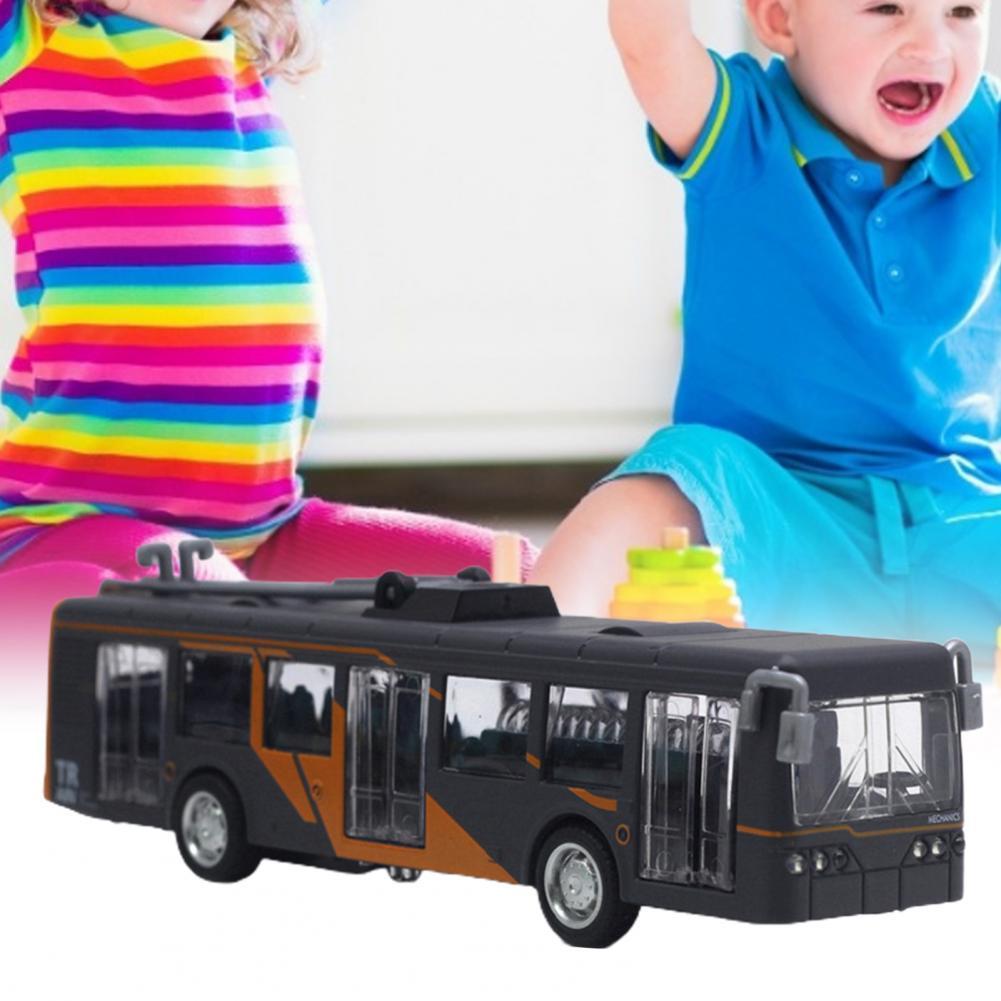 Classic Bus Fall-resistant Desktop Decor Alloy Pull Back Car Model Kids Toy for Boys