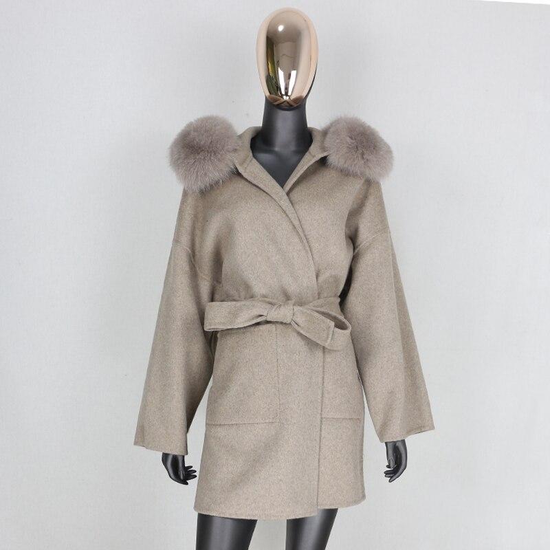 FURBELIEVE 2021 Cashmere Wool Blends Real Fur Coat Winter Jacket Women Natural Fox Fur Collar Outerwear Belt Streetwear Oversize