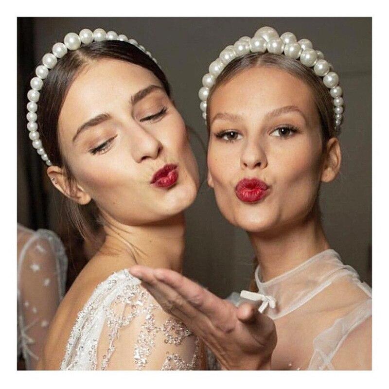 Diadema de perlas grande para mujer elegante diadema de moda de lujo con personalidad salvaje bisel turbante accesorio para el pelo para niñas