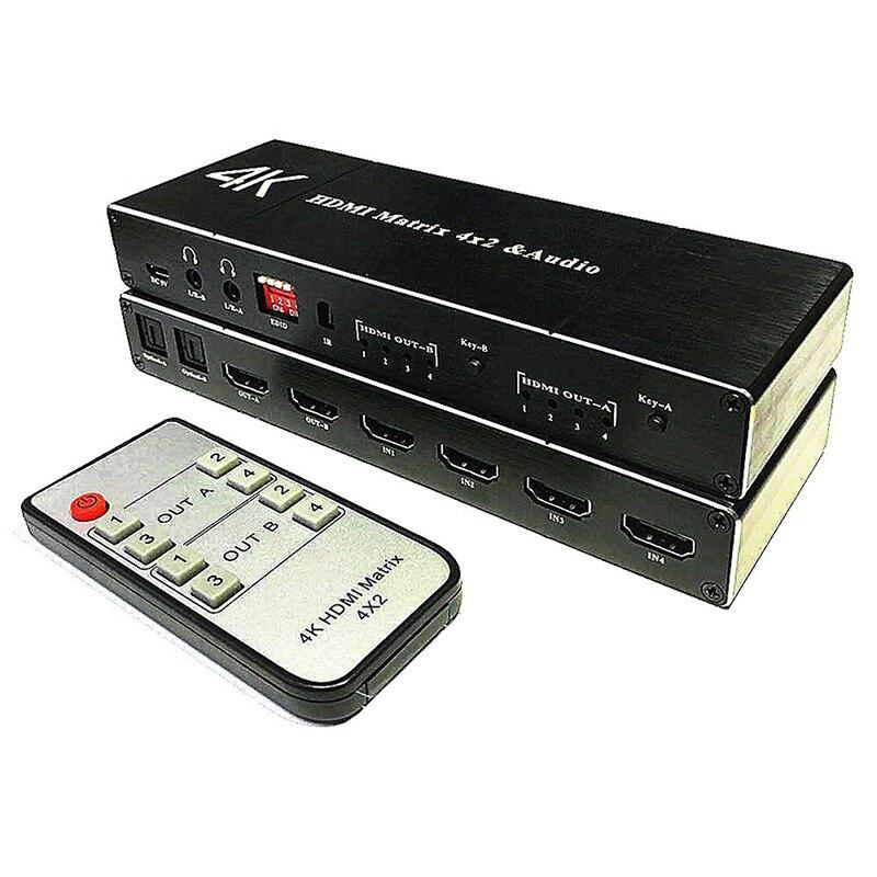 2.0HDMI-متوافق مصفوفة 4x2 4KHDR موزع فصل 4 في 2 خارج البصرية SPDIF + 3.5 مللي متر جاك مستخرج الصوت HDMI-متوافق الجلاد