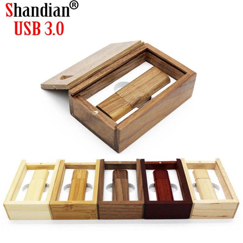 SHANDIAN USB 3.0 Wooden bamboo USB flash drive pen driver wood chips pendrive 4GB 16GB 32GB 64GB USB creativo free custom logo