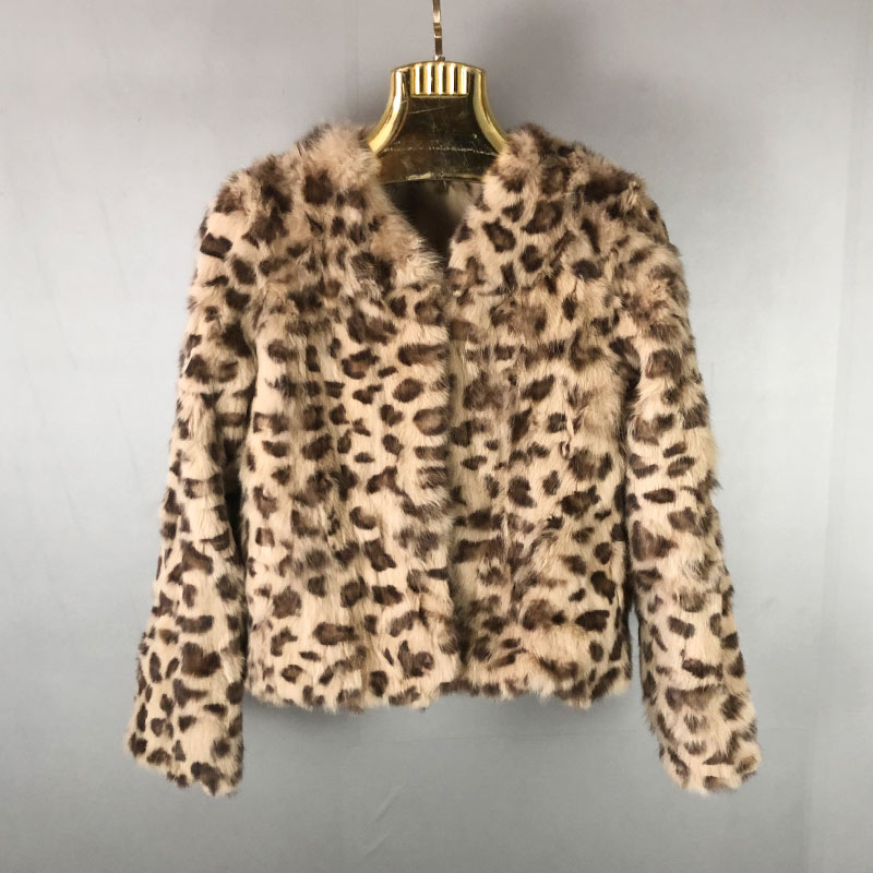 Abrigo de invierno de piel Real para mujer, abrigo de piel de conejo, estampado de leopardo, Chaqueta de Piel de Conejo, abrigo corto para mujer, personalizable QD.YISHANG