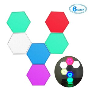 6pcs Colorful RGB LED Wall Lamp DIY Splicing Hexagonal Night Light Quantum Smart Modular Touch Magnetic Lamp For Bedroom Decor