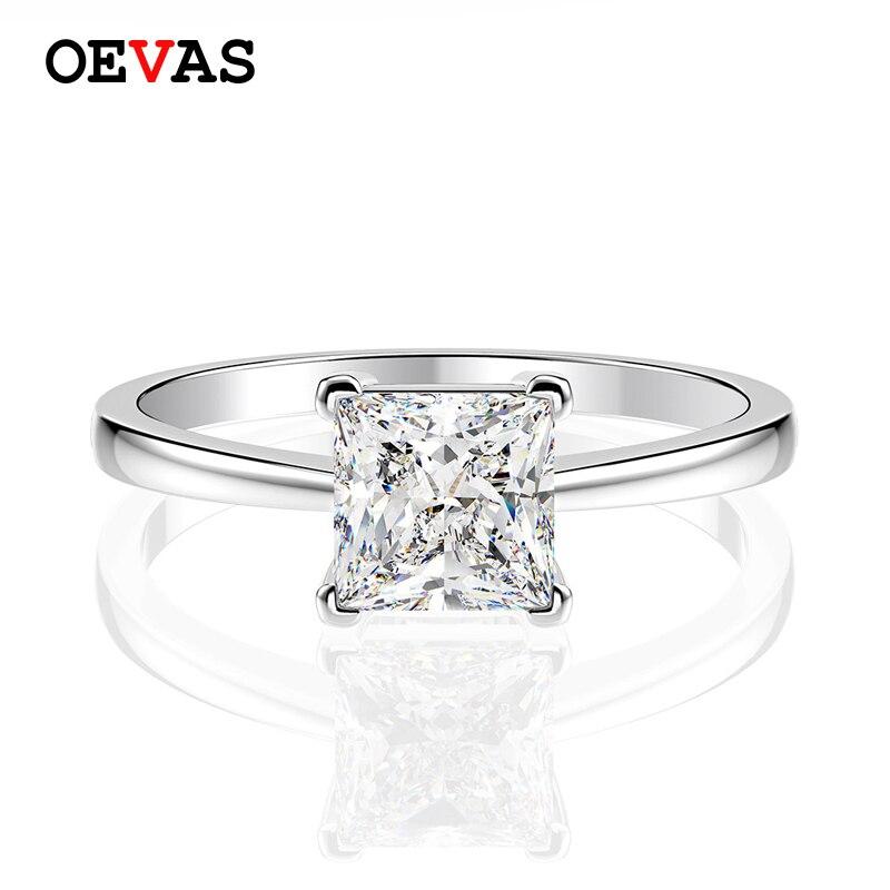 Nuevos anillos de boda simples 6*6mm cuadrados de princesa Moissanite para mujeres Plata de Ley 925 auténtica chispeando 5A + joyería de fiesta de Zricon