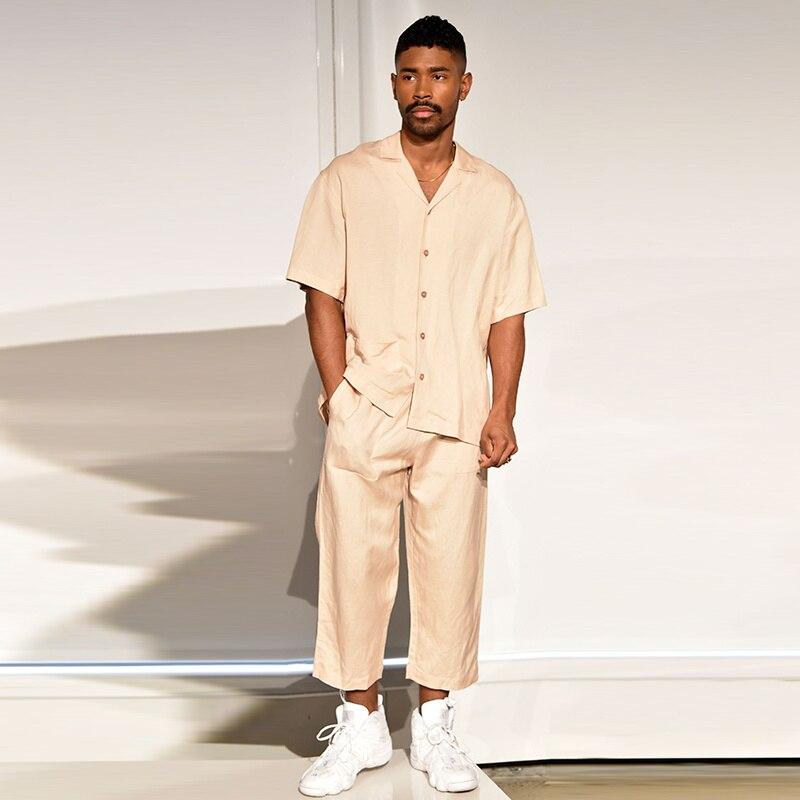 استرخاء الرجال وسهلة الصيف نمط لا بيرم الكوبية طوق بيجامة نمط قميص الحرير الوجه ضوء قصيرة الأكمام قميص مجموعة