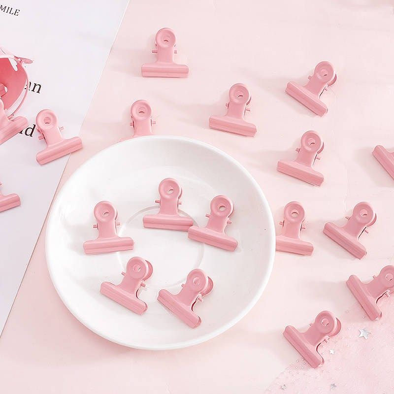 5 pcs/lot Ctue Pink Round binder Clips Metal Paper Clips organizer folder notes letter Clip clamp kawaii Office School Supplies