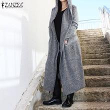 Женские кардиганы с капюшоном ZANZEA, повседневные весенние пальто макси с длинным рукавом, верхняя одежда 5XL, зима 2020