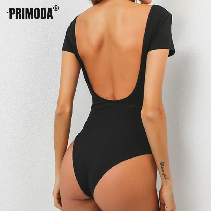 2020 frühling Sommer Backless Bodys Sexy Dünne Frauen Strampler Solid Kurzarm Tops Overalls Party Baumwolle Körper Anzug PR037