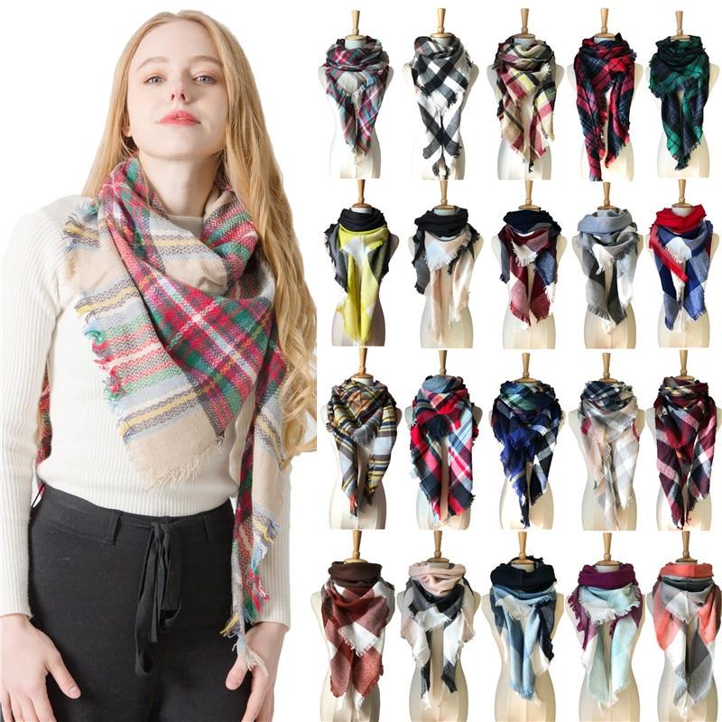 Spring and Winter Imitation Cashmere Triangular Scarf Ladies Double-sided Colorful Plaid Neck Keep Warm Shawl Fashion