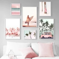 nordic poster pink beach flamingo palm tree surfboard wall art canvas interior painting prints picture teen girl room home decor