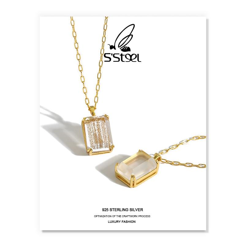 SSTEEL Aventurine Pendants Necklace Gift For Women 925 Sterling Silver Luxury Geometric Trendy Collares Fine Jewelry