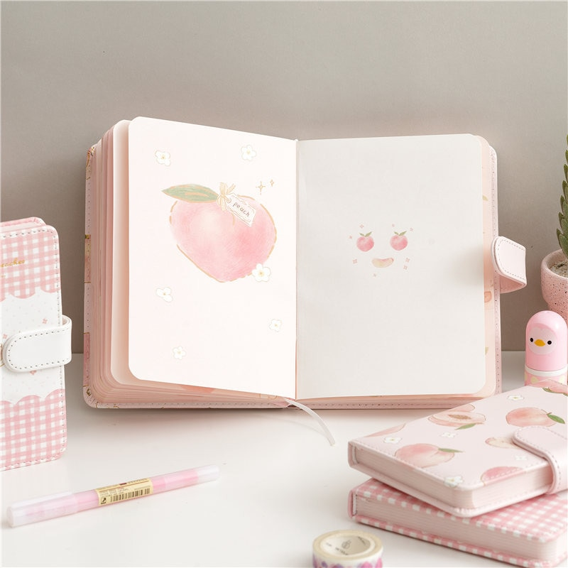 a5 illustration color page diary thick girl heart cute hand book korean student stationery notebook creative kawaii diary Stationery Girl Heart Pink Color Page Book Simple Pink Book Lovely Notebook Diary Student Literature And Art Note Book Diario