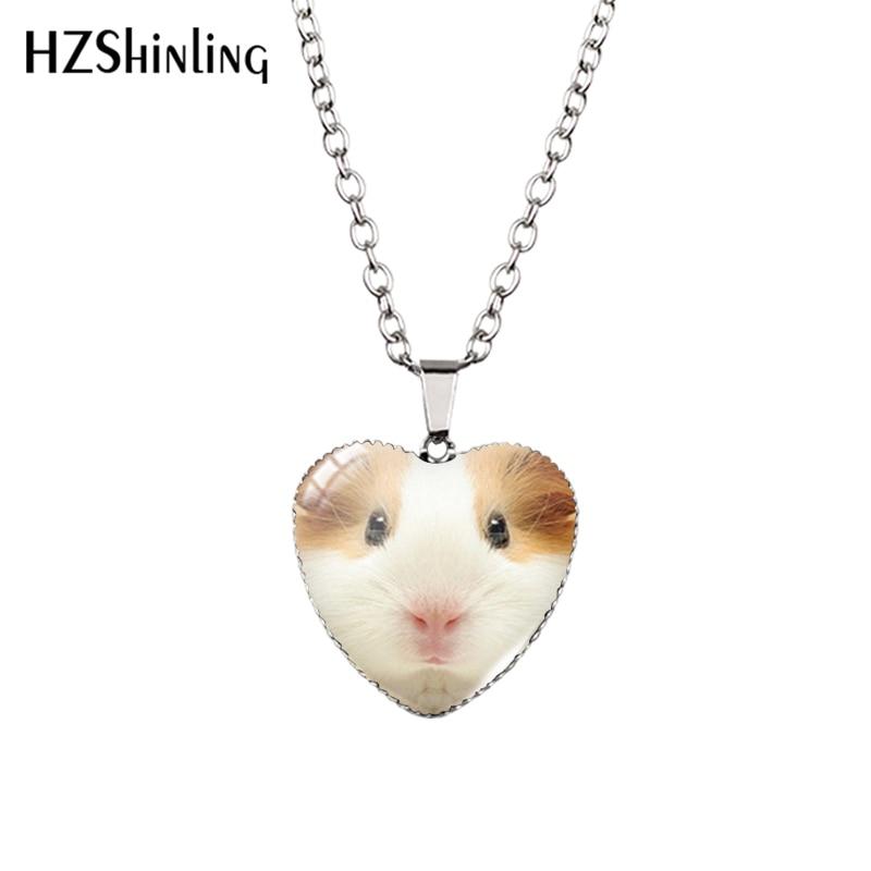 2016 New Guinea Pig Heart Necklace Guinea Pig Heart Pendant Glass Jewelry Fashion Heart Shaped Neckl