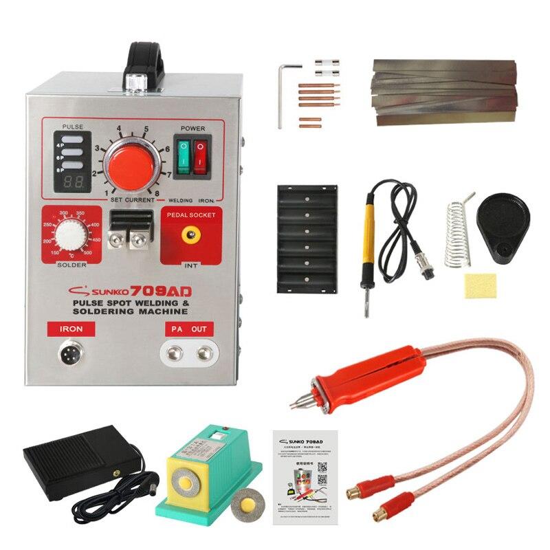 220 v 3.2kw sunkko 709ad bateria soldador ponto com HB-70B caneta soldador para 18650 máquina de solda a ponto frete grátis