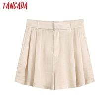 Tangada women silk look beige shorts zipper pockets female retro basic casual shorts pantalones BE727